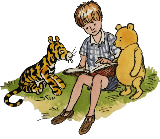 Christopher Robin and Winnie the Pooh with Books
